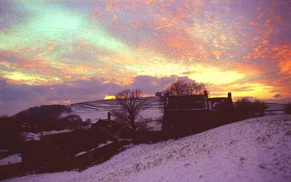 Abbotsbury - Chapel Hill in the snow at Sunset, by Andrew Green