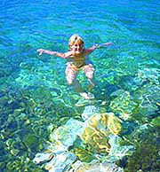 Mary-Clare swimming in Ithaka, Greece